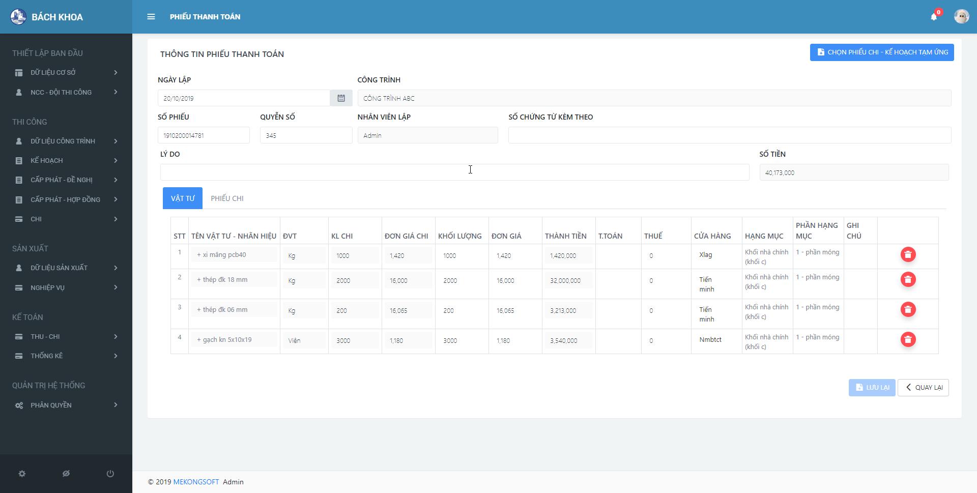 phần mềm quản lý thi công xây dựng 6