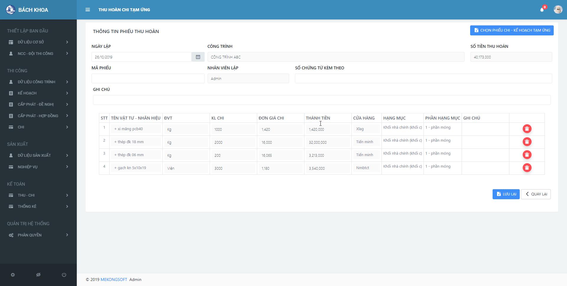 phần mềm quản lý thi công xây dựng 7